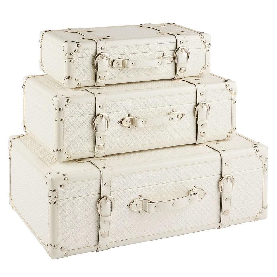 Vintage White Leather Suitcase Wholesale